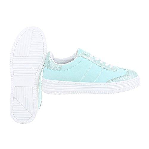 Sneakers Low Donna Ital Piatto Sneaker turquoise 223 R da Design Scarpe qYwf6