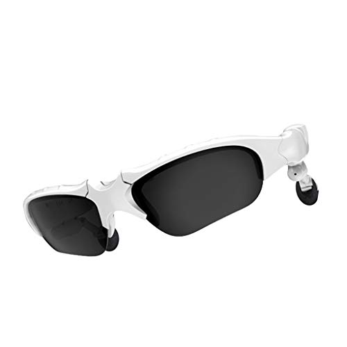 Jamicy® Bluetooth 5.0 Sonnenbrille mit Eingebautem Kabellosem Kopfhörer, Stereo Ohrhörer Hände Frei Musik MP3 Player Telefon Anruf für Radfahren, Fahren, Outdoor, Reisen (Weiß) - Läufer Headset
