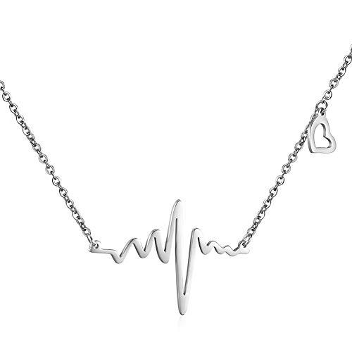 Parkomm EKG Herzschlag Halskette Love Cardiogram Halskette Schmuck für Frauen