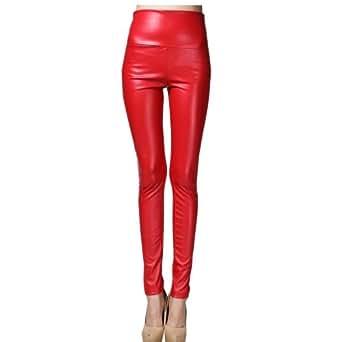 Dayiss® Damen Leggins Kunstleder High Waist Leggings Stretchy Hosen Strumpfhosen Legins
