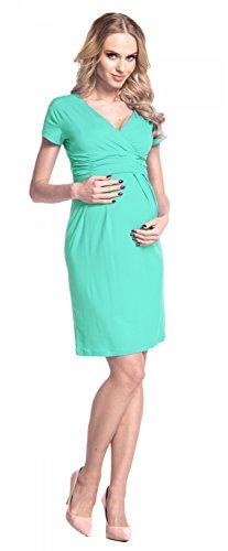 Happy Mama femme maternité robe de grossesse manche courte col V robe d'été 573p Menthe