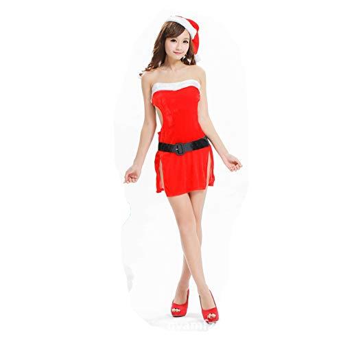 BK0 Sexy Wäsche-Weihnachtsmädchen-Rolle, Die Einheitliches Versuchungs-Feiertags-Party-Kostüm Spielt,rot,Alle - Alle Feiertage Kostüm