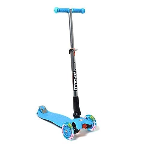 Fun-Scooter - Kids Go LED - für Kinder ab 2, faltbarer Kick-Scooter, Kinderroller bis 60kg belastbar mit verstellbarer Lenkstange und blinkenden LED Flüsterräder, von Apollo - Farbe: blau