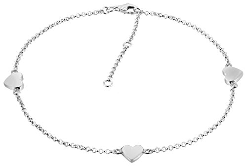 Nenalina Fußkettchen Silber mit 3 Herz-Anhänger, Damen Herzchen Knöchel Armband verstellbar für Damen und Mädchen, Länge 23-27 cm, 925 Sterling Silber, 381007-000