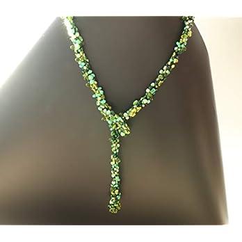 Weihnachtsgeschenke für Frauen Statement Y Kette Lang Grün aus Glasperlen ca.70 cm Elegant Schmuck Handmade