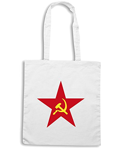 T-Shirtshock - Borsa Shopping TCO0114 stella rossa falce e martello Bianco
