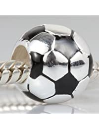 Colgante con forma de balón de fútbol – Copa del Mundo fútbol Beads Charm  925 plata fútbol charms con negro esmalte… 2336eb45a4d2a