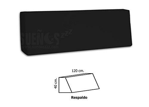 SUENOSZZZ- Respaldo de HR para palet. Enfundado en Polipiel Negro. Exterior e interior. 120 x 80 x 40 x 15 (Forma de cuña)