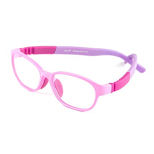 Cyxus licht flexibel (TR90) filter blaues licht brille für kinder [transparente linse] anti ermüdung der augen blockieren uv rot rahmen brille ohne stärke (Rosa)