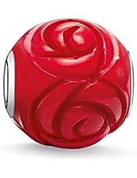 Thomas Sabo Damen Herren-Bead Rose Karma Beads 925 Sterling Silber behandelte Bambuskoralle rot