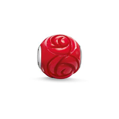 Thomas Sabo Damen Herren-Bead Rose Karma Beads 925 Sterling Silber behandelte Bambuskoralle rot K0038-590-10