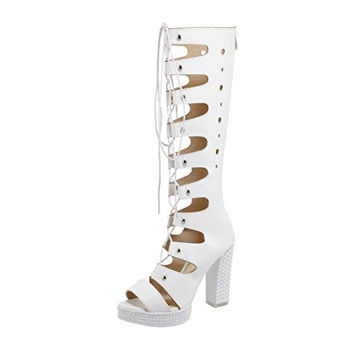 YE Damen Gladiator Hoch Lang Sommerstiefel Open Toe Blockabsatz High Heel Sandalen Schnürung und Lochmuster Schuhe