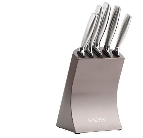 HOMEVER Couteaux de Cuisines Professionnels, Ensemble de Couteaux, 6 Pièces Set Couteaux Cuisine, Bloc de Couteaux en Acier Inoxydable