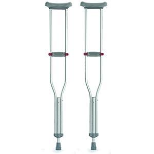 Pair Of Underarm Lightweight Aluminium Adjustable Adult Red Dot Axilla Crutches