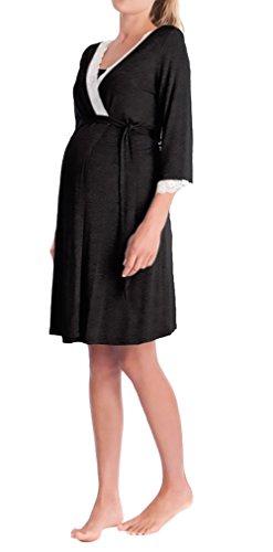 Morgenmantel Damen Umstandsmode Nachthemd Elegant 3/4 Arm V-Ausschnitt Classic Unikat Spitze Spleiß mit Gürtel Kurz Bademantel Umstandskleidung Pyjama Nachtwäsche Schwangere Frauen