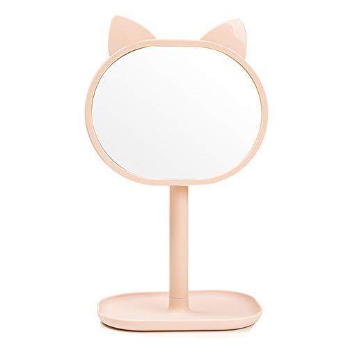 DH JINGZI - Schminkspiegel Spiegel Desktop einseitige Faltbare leicht zu Tragen Schminktisch Schlafsaal niedlich ohne Verformung ABS-Kunststoff, 2 Farben (Farbe : Elliptical pink, größe : 17x30cm)