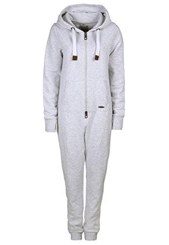 Eight2Nine Damen Sweat Overall | Kuscheliger Jumpsuit | Einteiler aus bequemen Sweat-Material einfarbig light grey L