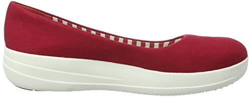 FitFlop F-sporty Ballerina Canvas, Ballerines femme Rouge (Ff Red)
