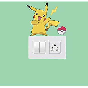 Indra Graphic PVC Vinyl Pokemon Switch Board Stickers (Size -Height 12.7 cm X Width 11Cm,Set of 1) Color - Multicolor