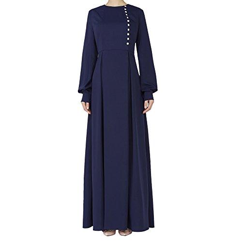 Ingsist Womens Abaya Hochzeit Party Kleid mit Fashion Button Element