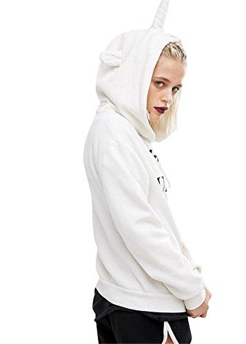 Brinny Femme Sweatshirt à Capuche Licorne Word Imprimé Lâche manches longues Pullover Outwear Manteau Veste Blanc / Noir/ Rouge Taille S/M/L/XL Blanc