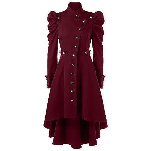 MYMYG Damen Winterjacke Winter Warme Vintage Steampunk Long Mantel Gothic Mantel Retro Jacke Hoodie Sweatshirt Kapuzenpullover Mit hohem Pulloverkleid Hooded (rot,EU:44/CN-3XL)