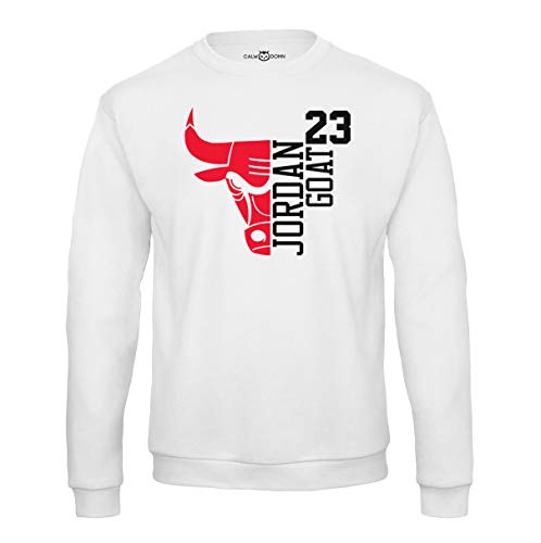 Jordan Sweat Shirt 23 Goat Chicago Herren Pullover Basketball Bulls Michael (M, Weiß)