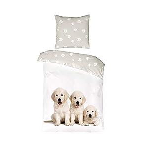 Aminata Kids Kinder-Bettwäsche 135x200 cm Hund-e Welpe-n Baby-Hund Golden Retriever Motiv 100% Baumwolle Weiss-e beige