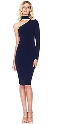 Longwu Womens Stretchy halter Single Shoulder Prom Gown Evening Dress Dark Blue-L