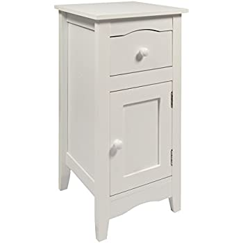 Woodluv Slimline Drawer And Cupboard Bedside Table Cabinet Wooden Storage  Unit, 30 X 30 X 60 Cm, White