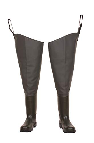 LEMIGO green thigh waders, fishing, hunting - solid, non-slip sole, hip waders boots 7-12 UK, 41-46 EU