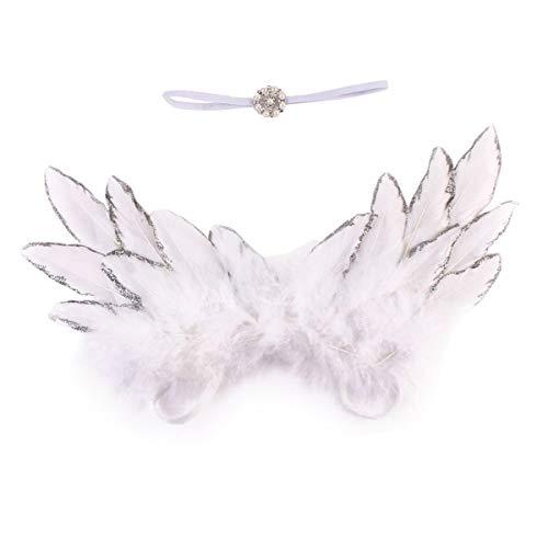 HaiQianXin Neugeborenes Baby Foto Prop Kostüm Cute Angel Wings + Stirnband Fotografie Requisiten Junge Mädchen Zubehör (Color : White)