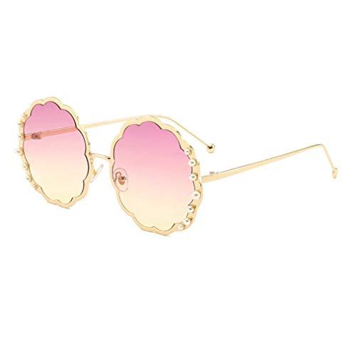 HQMGLASSES Round Sungbrillen für die Damenmode-Designerin Pearl Frame & Circle Tinted Gradient Lens Glasses UV400,03