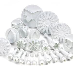 10 Sets (30 pcs) Cake Decorating Tools Flower Plunger Fondant Cutters Embosser Sugarcraft Mole Paste Tool Kit New (Heart, Veined Butterfly, Stars, Daisy, Veined Rose Leaf, Carnation Cutters, Flower Blossom, Sunflower, Other), Make Professional Cakes Decorating