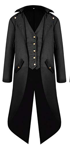 LCXYYY Herren Gothic Mittelalter Mantel Vintage Frack Jacke Schwalbenschwanz Gothic Victorian Kleid schwarz Steampunk Coat Uniform Kostüm Vampir Cosplay Verkleidung