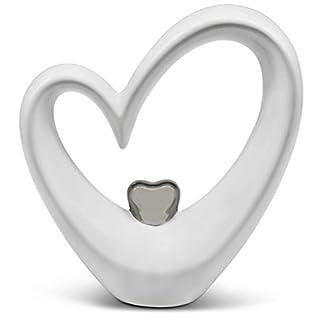 FeinKnick Stilvolles Herz Zur Dekoration   Modernes Dekoherz 17 Cm Groß In  Weiß U0026 Silber