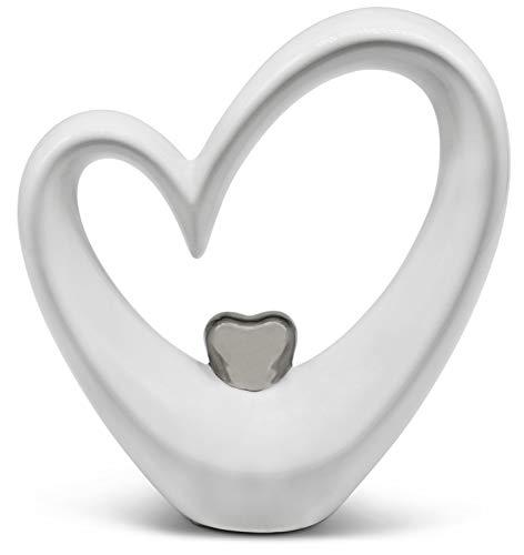 FeinKnick Stilvolles Herz zur Dekoration - modernes Dekoherz 17 cm groß in Weiß & Silber - Deko in...