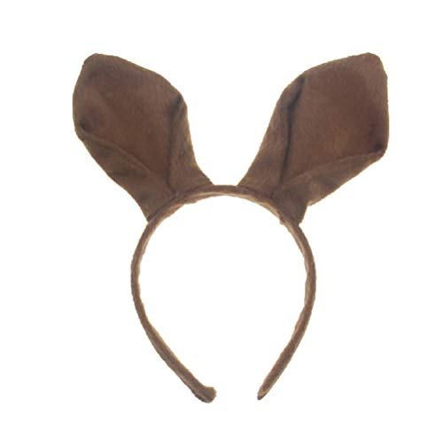 Amosfun Känguru Ohren Stirnband Kaninchen hase känguru kostüm Cosplay gastgeschenke für Kinder (braun) (Känguru Kostüm Ohren)