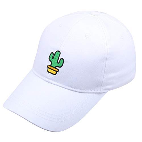 Sannysis Baseball Cap Unisex Baseball Mützen Stickerei-Baseball-Cap Süßer Kaktus Baseballmütze Snapback Hip Hop Flat Hat Weiß