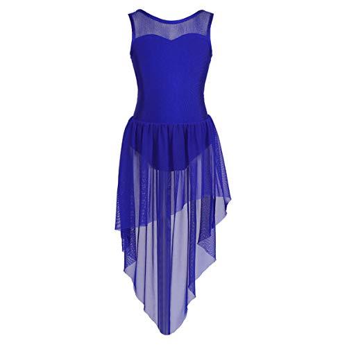 Tiaobug Kinder Mädchen Ballettkleid Ballettanzug Ballett Trikot Kleid mit Chiffon Rock in Weiß Schwarz Rosa Lavender Blau unregelmäßig 134-140