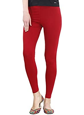 FashGlam Women's Cotton Ankle Length Leggings (Red, Maroon, Free Size)