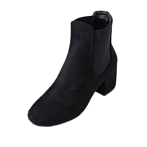 Leopard Print Wildleder Damen Chunky Heels Ankle Booties Damen Kurze Stiefel | Stiefeletten Ankle Boots Schlupfstiefel Chelsea Boots (37.5 EU, Schwarz) ()