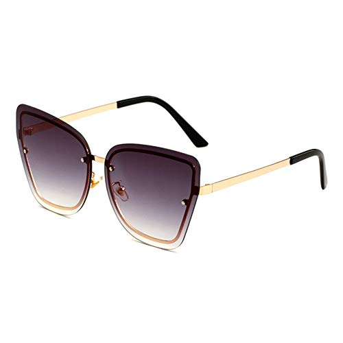 EYEphd Women's Tone Frameless Sonnenbrille Gold Frame Cat Eye Oversized Designer Sun Brillen UV 400 Protected Driving Vacation Glasses,GoldFrame/GradientGray