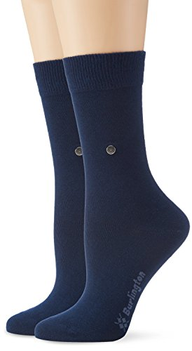 Burlington Damen Strick Socken Everyday Uni 2er Pack, Gr. 36/41, Blau (marine 6120)