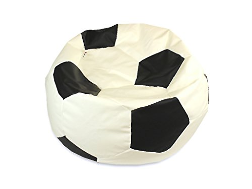 kissenwelt.de *Weihnachts SALE* Sitzsack Fußball M (Ø 90cm) - Kunstleder - weiß/schwarz - Made in Germany