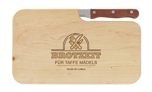 meinbecher Brotzeitbrett Jausenbrett Holz Erle Messer Brotzeit für taffe Mädels Geschenk Frauen Schneidbrett Holz Geschenkidee für Sie