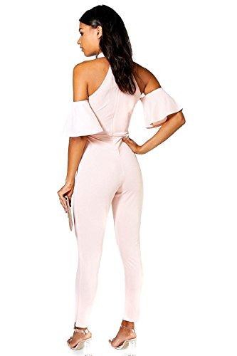 Noir Femmes Olivia Combinaison Jambes Skinny Ouverte Aux Épaules Noir