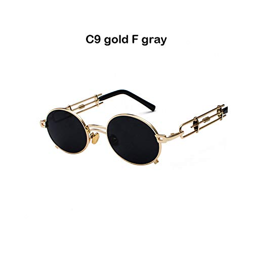 Sport-Sonnenbrillen, Vintage Sonnenbrillen, Men Metal Oval Frame Steampunk Gothic Vampire Sunglasses Unique Retro 1980S Sun Glasses Cosplay Styling Oculos De Sol C9 gold F gray