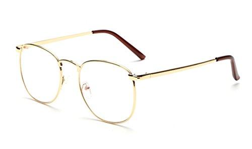 DAUCO Metall Frame Runde Brille Retro Metall Klare Linse Brille, Unisex, Schwarz, Golden, Silbern...