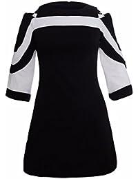 Cosido en blanco y negro, con cuello redondo, mangas de siete puntos, cremallera